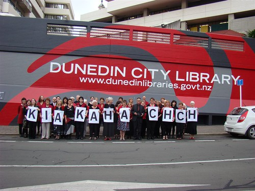Staff at Dunedin Public Libraries show their support for Christchurch