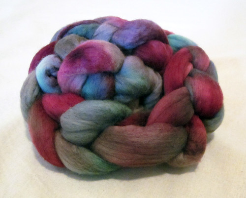 Fibre dyed with my pinks and purples mixed, my greens mixed and wombat to fill in the gaps.