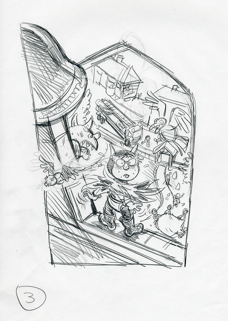 Roger Frames - Batfink and gargoyle - 1st rough