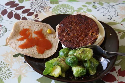 morningstar black bean burger; brussell sprouts