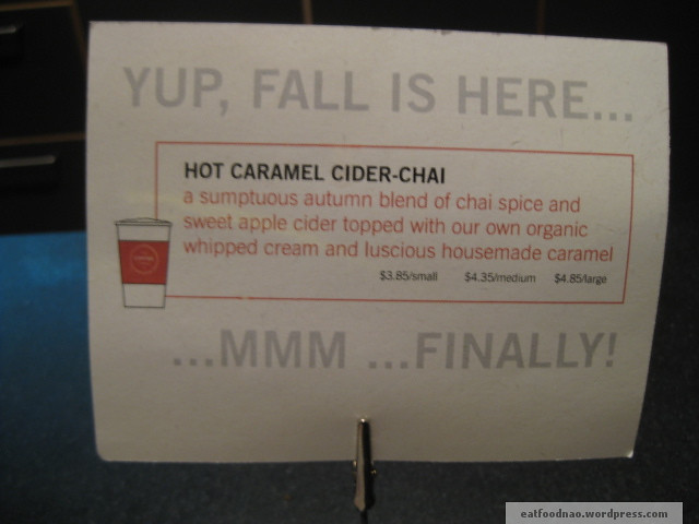 Hot caramel cider chai sign