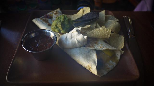the vegetarian quesadilla was delicious: jack & cheddar cheese, potatoes, sauteed mushrooms, red onions & calabacitas