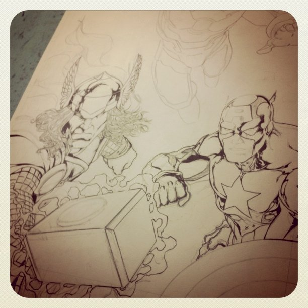 Inks - #Thor and #CapitainAmerica almost done. Sleepy time. Tomorrow I'll be back #Marvel #DC #Avengers