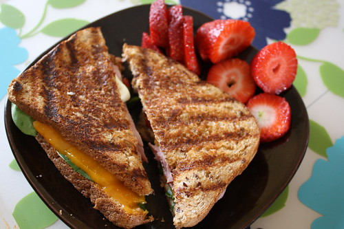 panini, strawberries