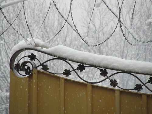 Winter wonderland with razor wire
