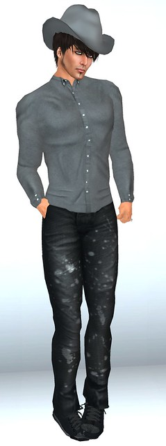 Bella's Vincent Grey Shirt & Painted Black Jeans & Grey Felt Western Hat