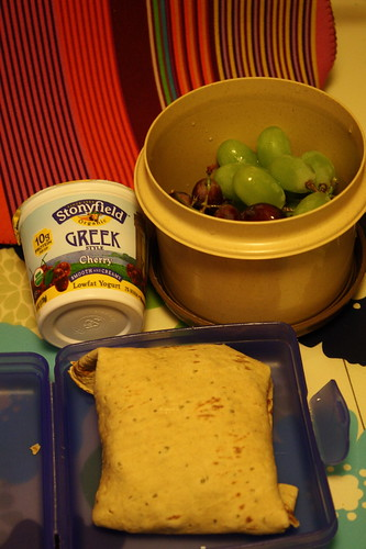 ham and cheese wrap, Stonyfield Greek style cherry yogurt, grapes