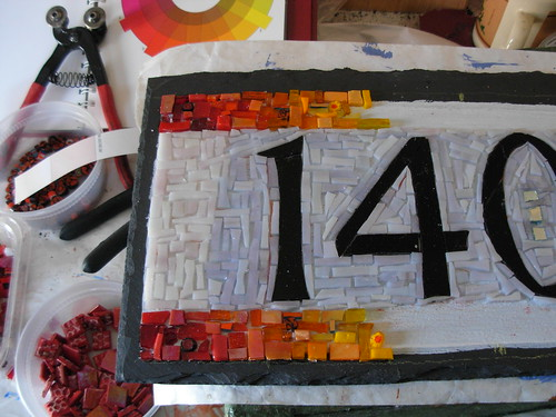 Wordless Wednesday: Rainbow Mosaic House Number In