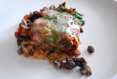 Black Bean and Mushroom Tortilla Casserole