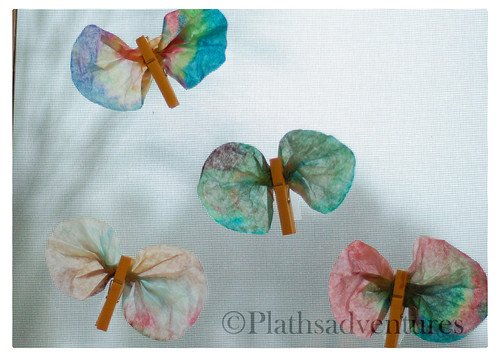 Finished coffee filter butterflies