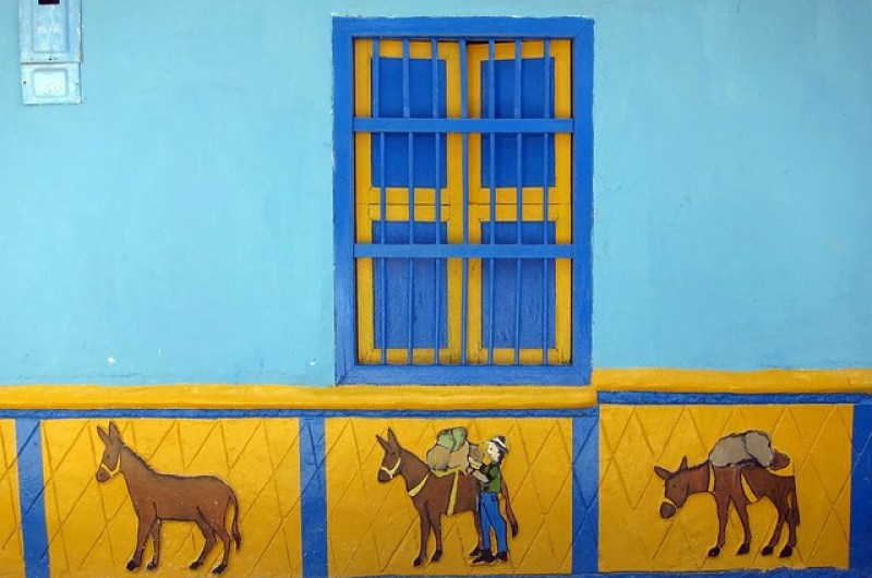 Painted wall reliefs in Guatape