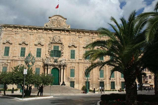 Misrah Kastilja Square and Auberge de Castille and Portugal in Valletta Malta