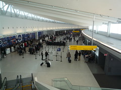 Looking Down on T5 Ticket Counter