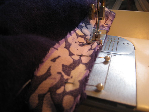 purple sweater dress bindings sewn