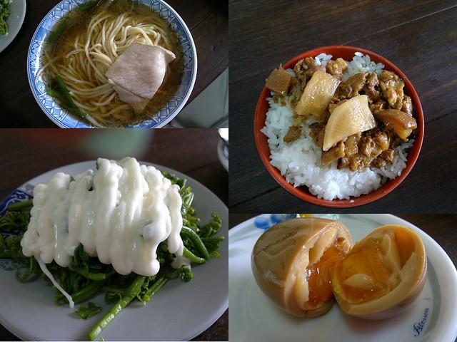 這是我們點的食物的其中四樣,滷豬頭皮跟油豆腐沒有放進來。都好好吃!