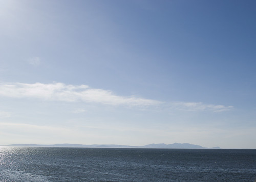 Blue on blue on blue, Arran from Ayr