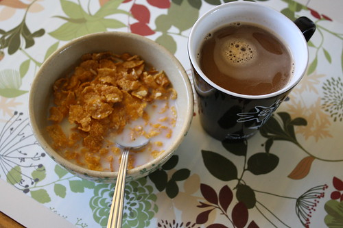 Crunchy Nut cereal; coffee
