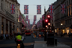 Union Jack flags flying all over Regent Street...