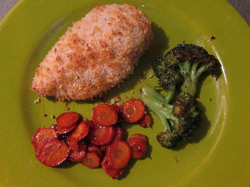 Panko Chicken, Carmelized Carrots, Roasted Broccoli