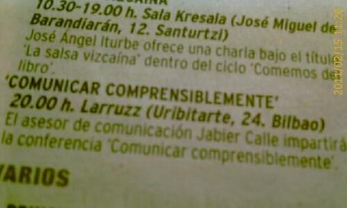 Comunicar Comprensiblemente con Jabier Calle. Recorte Prensa EL NERVION 18 abril 2011 by LaVisitaComunicacion