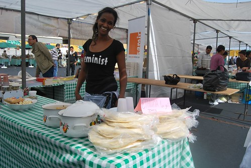 Rahel by the Ethiopian stand