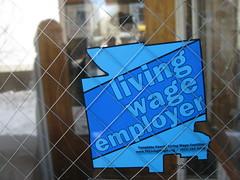 living wage employer sticker at buffalo st. bo...