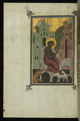 Gospel Lectionary, Luke seated, writing, with ...