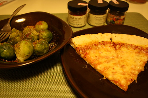 brussel sprouts, TJ's pizza, penzey's spices
