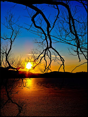 Frozen lake at sunrise