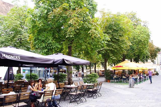 這邊有好多樹,樹旁的露天咖啡座看起來一樣很棒。