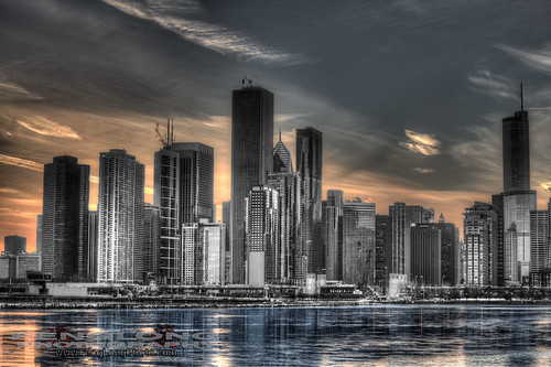 Chicago Skyline at Sunset in HDR