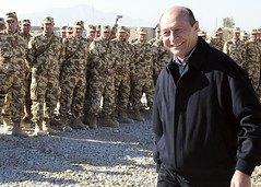 Romanian president visits his troops in southw...