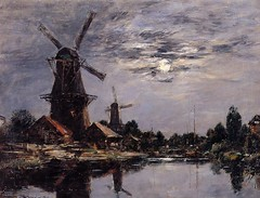 Boudin, Eugene - Windmills and Canal near Dordrecht