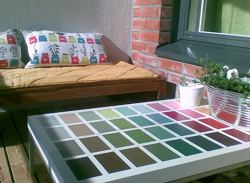 balcony table and bench