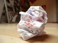 crushed paper - writer's block - crumpled pape...