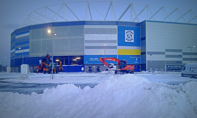 Cardiff City Stadium in the snow.