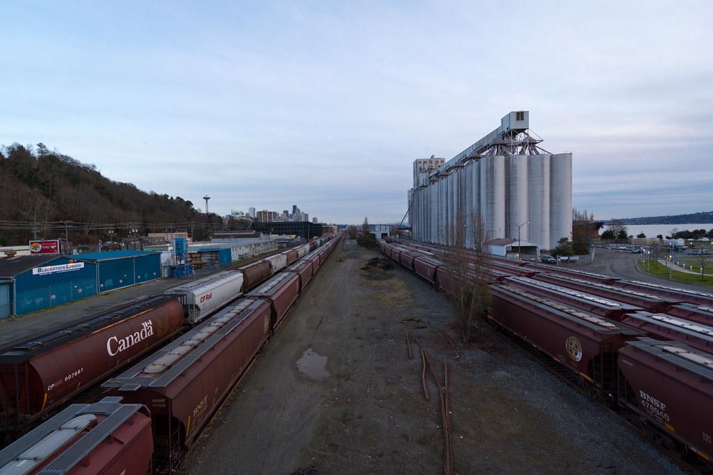 Pier 86 grain terminal and trains