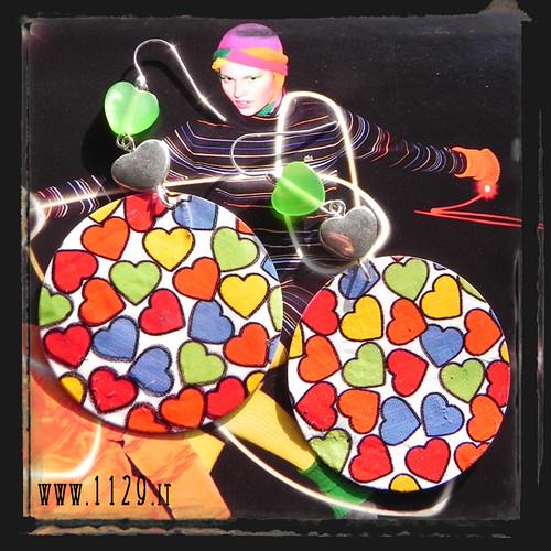 MBCUOR orecchini cuori multicolore shell many color hearts earrings