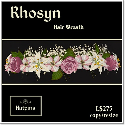 Hatpins Rhosyn Hair Wreath - Pink and White