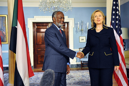 Secretary Clinton Shakes Hands With Sudanese Foreign Minister Karti