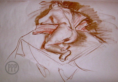 20 min Life drawing, Conté on newsprint