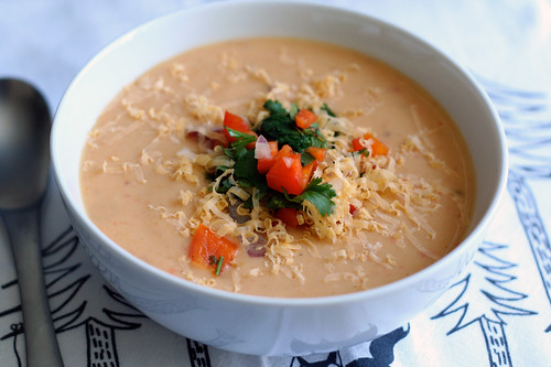 Chipotle Potato Soup with Bell Pepper Salsa