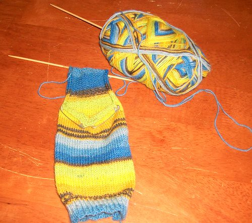 Second Blue Sock - progress.