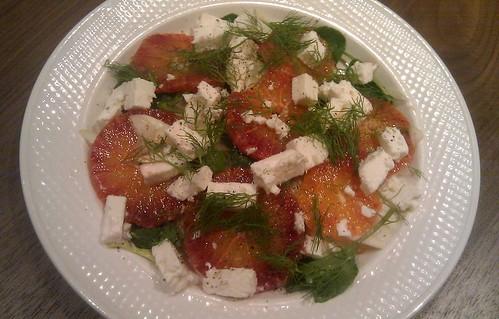 Blood orange, fennel, watercress and feta salad
