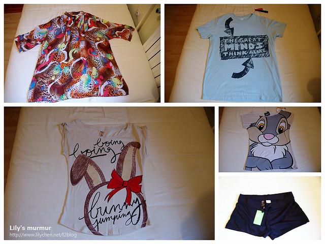 左上角是在義大利Trieste路邊攤買的雪紡上衣,右下角是在Zara買的居家小短褲。其他三件T恤都是在Bershka買的。