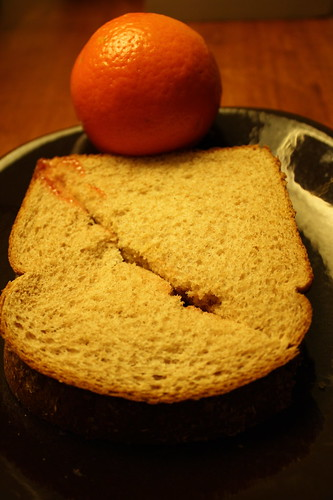 peanut butter and jelly sandwich, tangelo