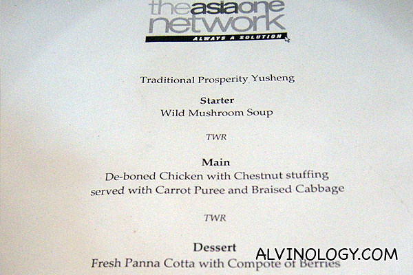 Menu for the day