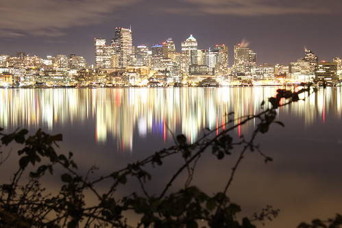 The Seattle skyline from Gasworks Park.