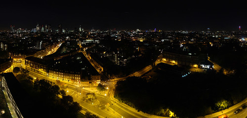 Autumn 2010, Panorama of London from Michael Cliffe House at night