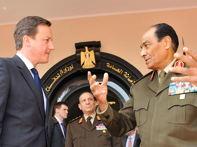British PM David Cameron meets with Egyptian Field Marshal Mohammed Tantawi in Cairo.